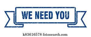 we need you grunge vintage retro band. we need you ribbon