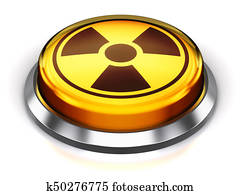 Yellow round nuke button with nuclear radiation symbol