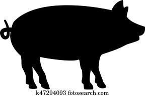 schwein, silhouette
