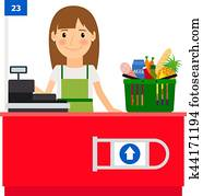 Cashier lady at her workplace