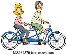 Couple riding a blue tandem bicycle