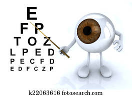 eye with arms and legs showing the letters of the table optometr