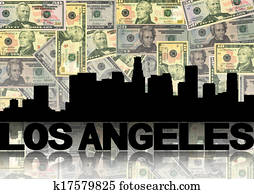 Los Angeles skyline reflected with dollars illustration