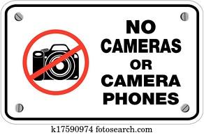 nein, kameras, oder, fotoapperat, telefone, zeichen