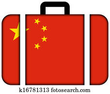 Suitcase with China Flag
