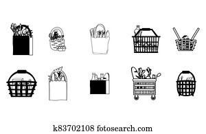 Set of grocery bags