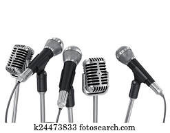 Conference meeting microphones prepared for talker. Isolated on