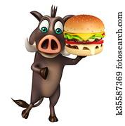 cute Boar cartoon character with burger