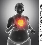 Fat woman with heart issue