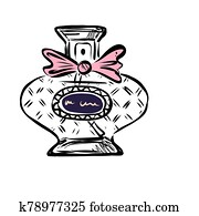 Hand drawn vector perfume bottle. Cosmetics object on white background.