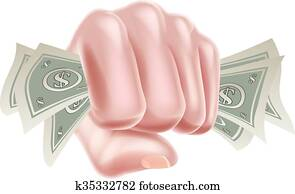 Hand in Fist Holding Money