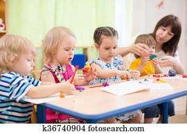 kinder, lernen, künste handwerke, in, kindergarten, mit, lehrer