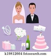 Bride, groom and wedding themed illustrations. Vector illustration set