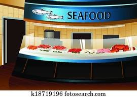Grocery store: seafood section