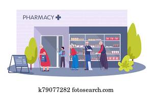 Modern pharmacy building exterior. People order and buy medicaments
