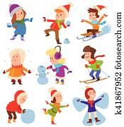 weihnachten, kinder, spielender, winterbilder, spiele