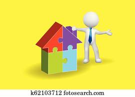 3D small people man with a puzzle house logo vector