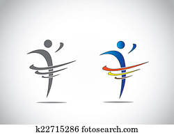 abstract icon symbol of a person dancing with joy, fitness and happiness