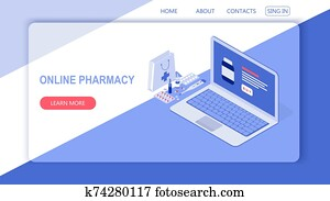 Healthcare, pharmacy and medical concept. Online notebook with pills, capsules blisters, glass bottles, plastic tubes. Isometric vector illustration.