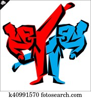 Martial arts. Karate fighters high kick. Vector. EPS.