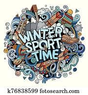 wintersport, zeit, hand, gezeichnet, karikatur, doodles, illustration.