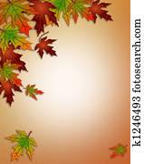 Autumn Fall Leaves Border