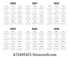 Calendar grid. 2020 2021 and 2022 yearly calendars. 2023, 2024 years organizer and 2025 year weekdays vector illustration set