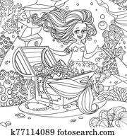 Cute mermaid girl is sitting on a treasure chest and keep the crown on the hand on underwater world with corals and anemones background outlined