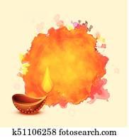 diwali festival diya on watercolor background