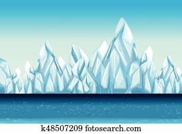 hintergrund, mit, gletscher, und, wasserlandschaft