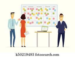 Office Kanban planning system - modern vector business cartoon characters illustration