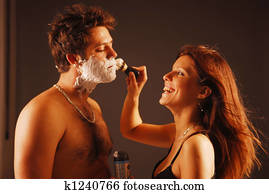Pair during a shaving