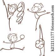 Sketches of a girl doing gymnastics