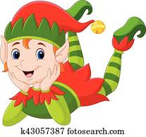 Cartoon elf laying on the floor