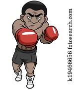 karikatur, boxer