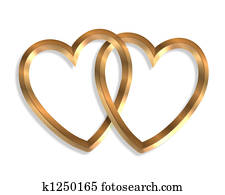 Linked Gold Hearts 3D