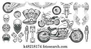 Set of vector illustrations, icons of vintage motorcycle in various angles, skulls, wings