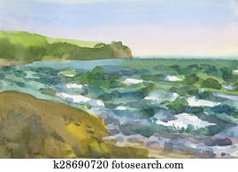 Watercolor background seascape