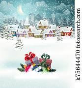 weihnachten, dorf, landschaft