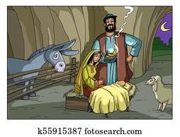 Christmas story. Mary, Joseph and baby Jesus.