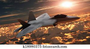 F-22 Fighter Jet at Sunset