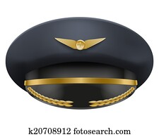 Aviator Peaked cap of the pilot. Isolated on white background. Bitmap copy.