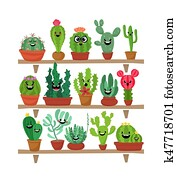 Big set of cute cartoon cactus and succulents with funny faces. Cute stickers or patches or pins collection. plants are friends set. Funny and cute cartoon desert cactus in pots vector set