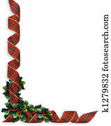 Christmas Ribbons Border Holly