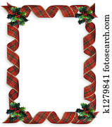 Christmas Ribbons Frame Holly