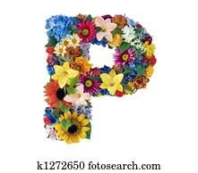 Flower Alphabet - P