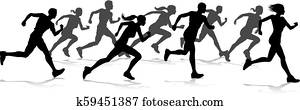 Runners Race Track and Field Silhouettes