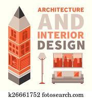 Architecture and interior design vector concept in flat style