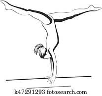 Gymnastics Girl Beam