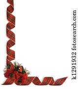 Christmas Ribbons and flowers corne